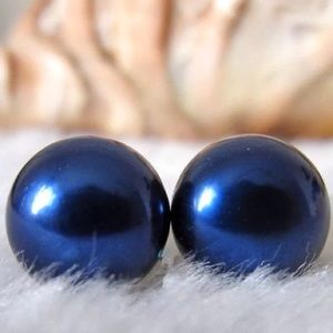 Natural Cultured 12mm Pearl Silver Stud Earrings